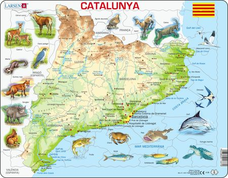 A28 - Catalonia Fysisk kart med Dyr