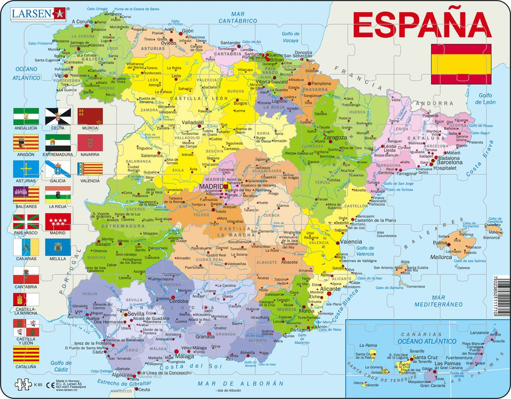 K Spain Political Maps Of Countries Puzzles Larsen - World political map spanish