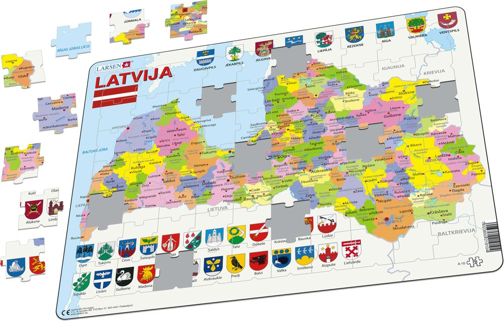 A10 Latvia political map Maps of countries Puzzles