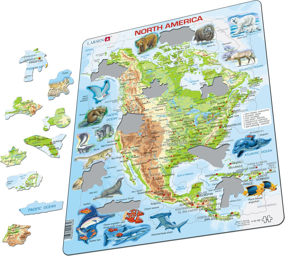 A32 - North America, physical map with animals :: Maps of the world ...
