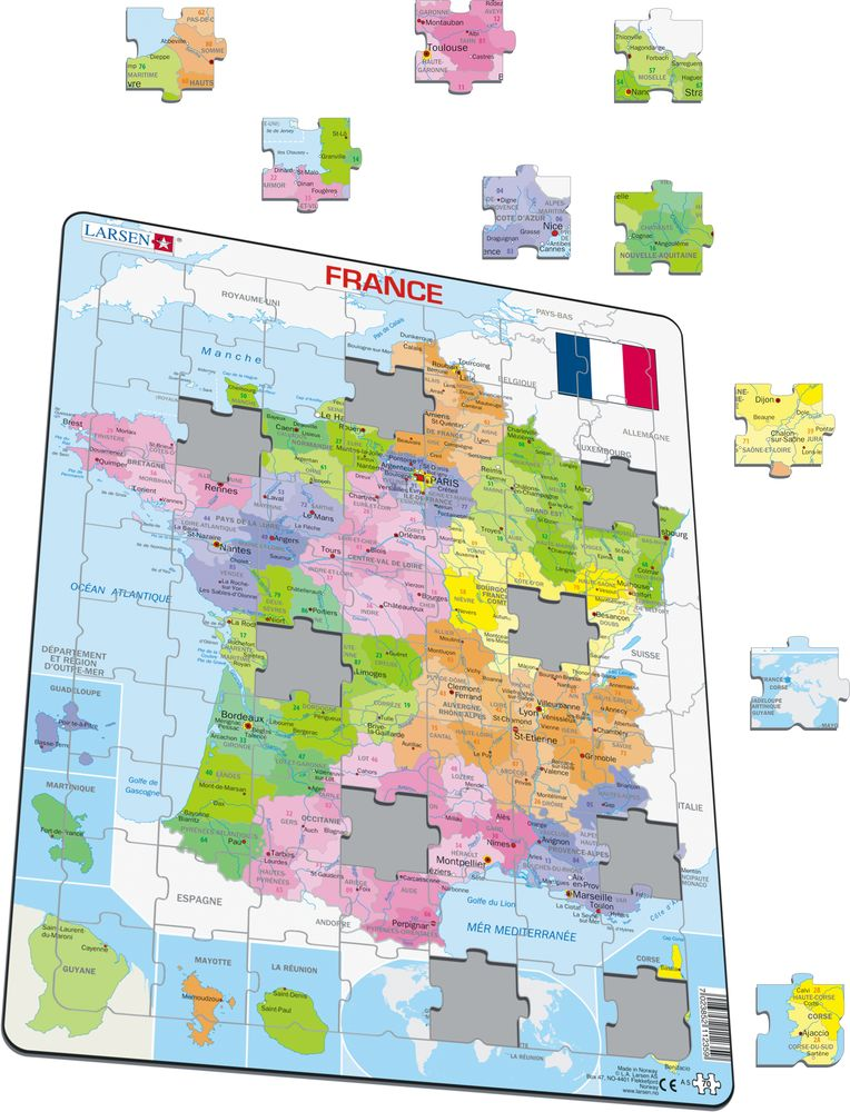 A5 France Political Maps of countries Puzzles Larsen Puzzles