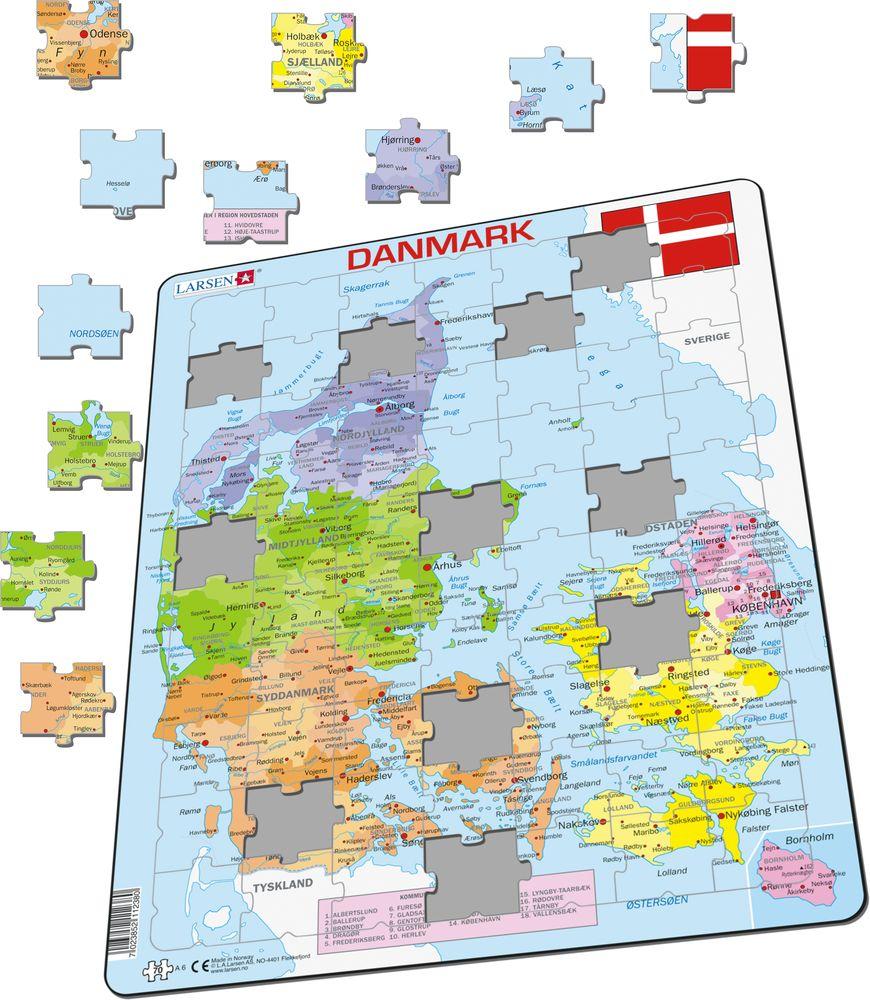 A6 Danmark Politisk Kart Over Land Puslespill Larsen