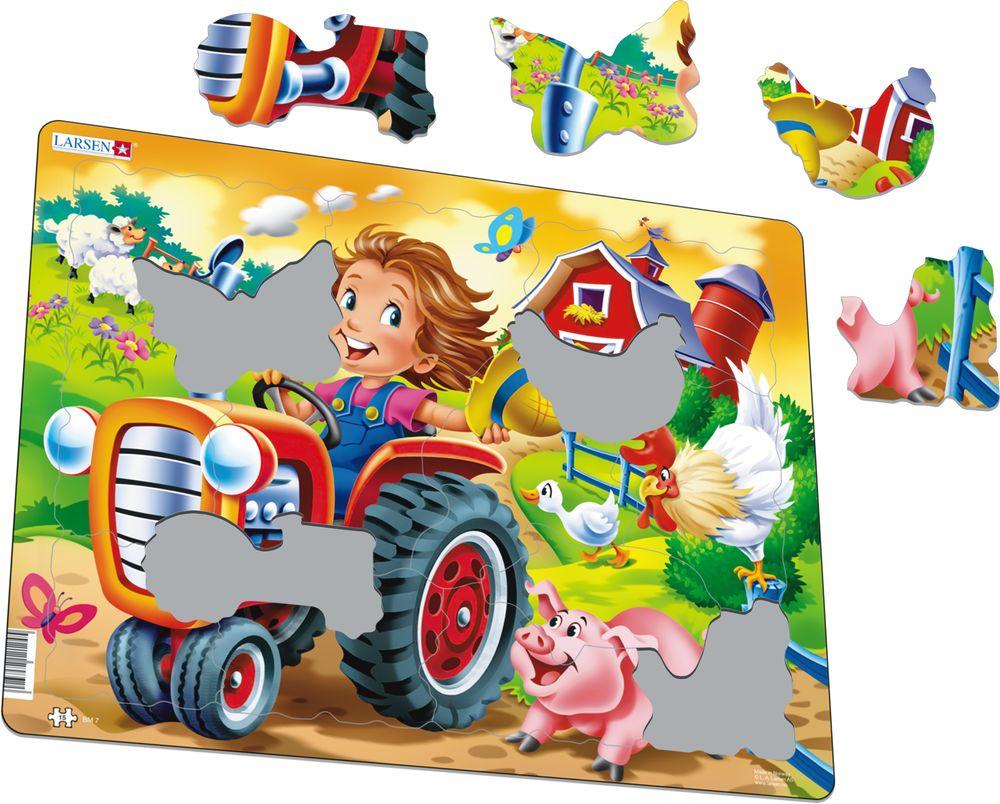 BM7 - På gården: Traktor kappkjører med en gris (Illustrasjonsbilde 1)
