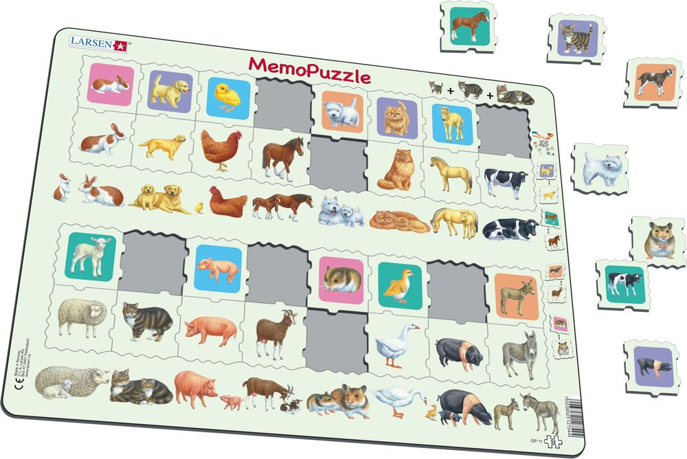 GP11 - MemoPuzzle: Dyr og deres barn (Illustrasjonsbilde 1)