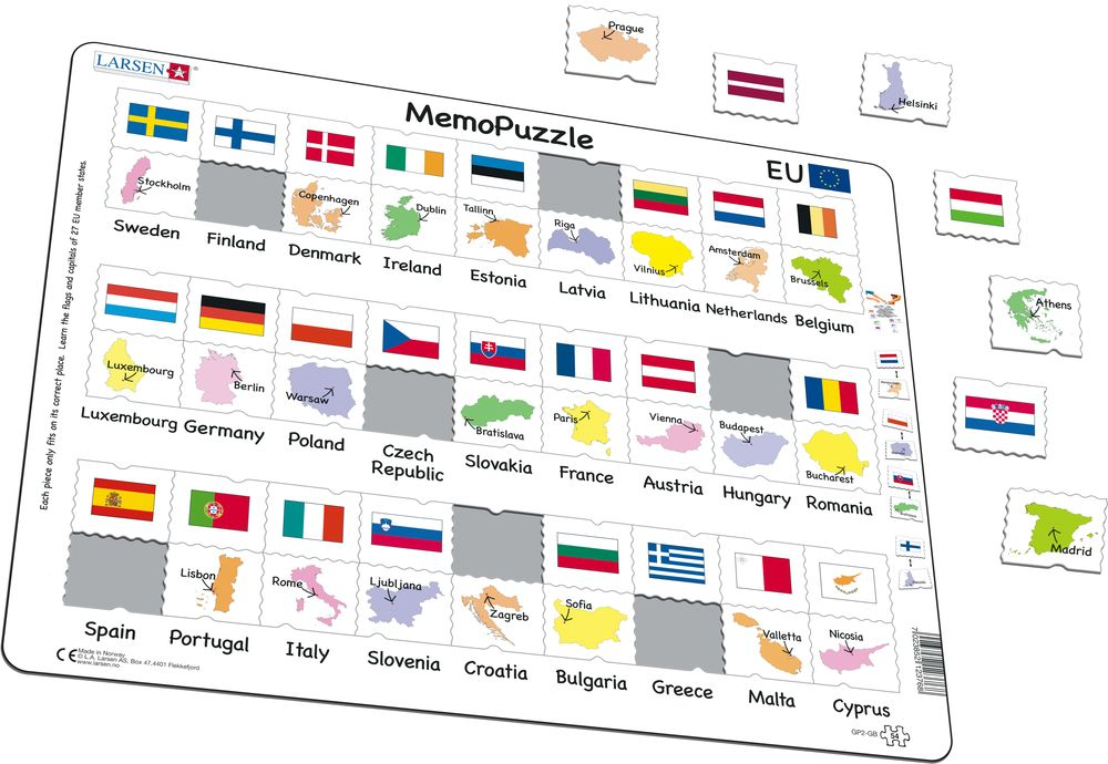 GP2 - MemoPuzzle: Names, Flags and Capitals of 27 EU Member States (Illustrative image 1)