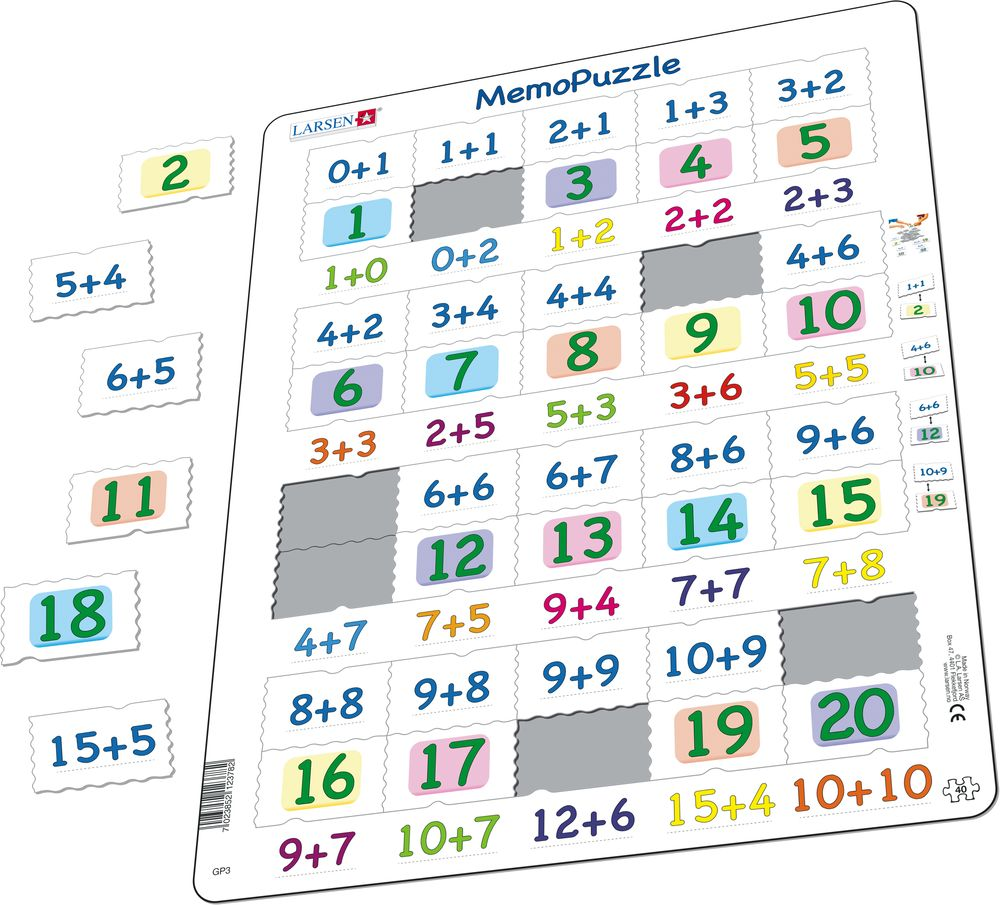 GP3 - MemoPuzzle: Addition with numbers from 0-20 (Illustrative image 1)