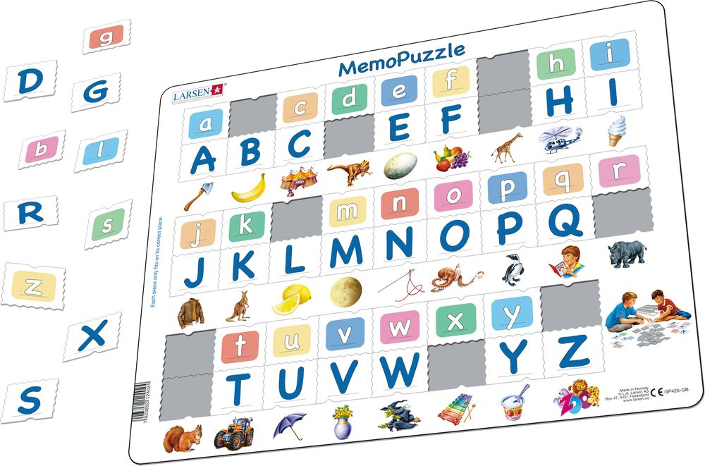 GP426 - MemoPuzzle. The Alphabet with 26 upper case- and lower case letters.(26 letters) (Illustrative image 1)