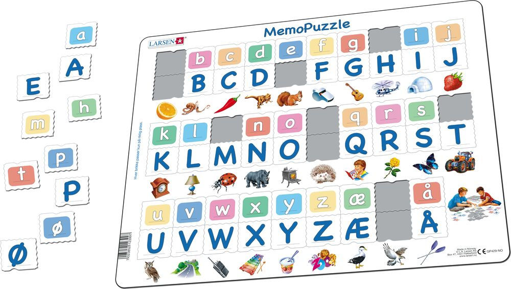 GP429 - MemoPuzzle. The Alphabet with 29 upper case- and lower case letters. (Illustrative image 1)