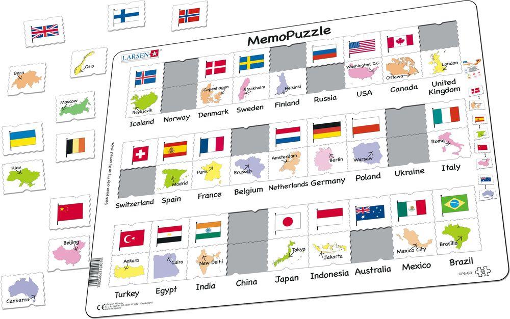 GP6 - Flagg og hovedsteder til 27 land. (Illustrasjonsbilde 1)