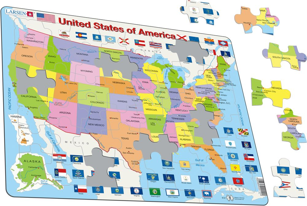K12 United States Of America Political Maps Of Countries Puzzles Larsen Puzzles