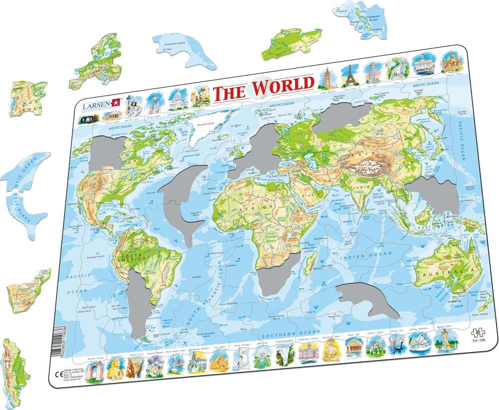 K4 - The World Physical Map (Illustrative image 1)
