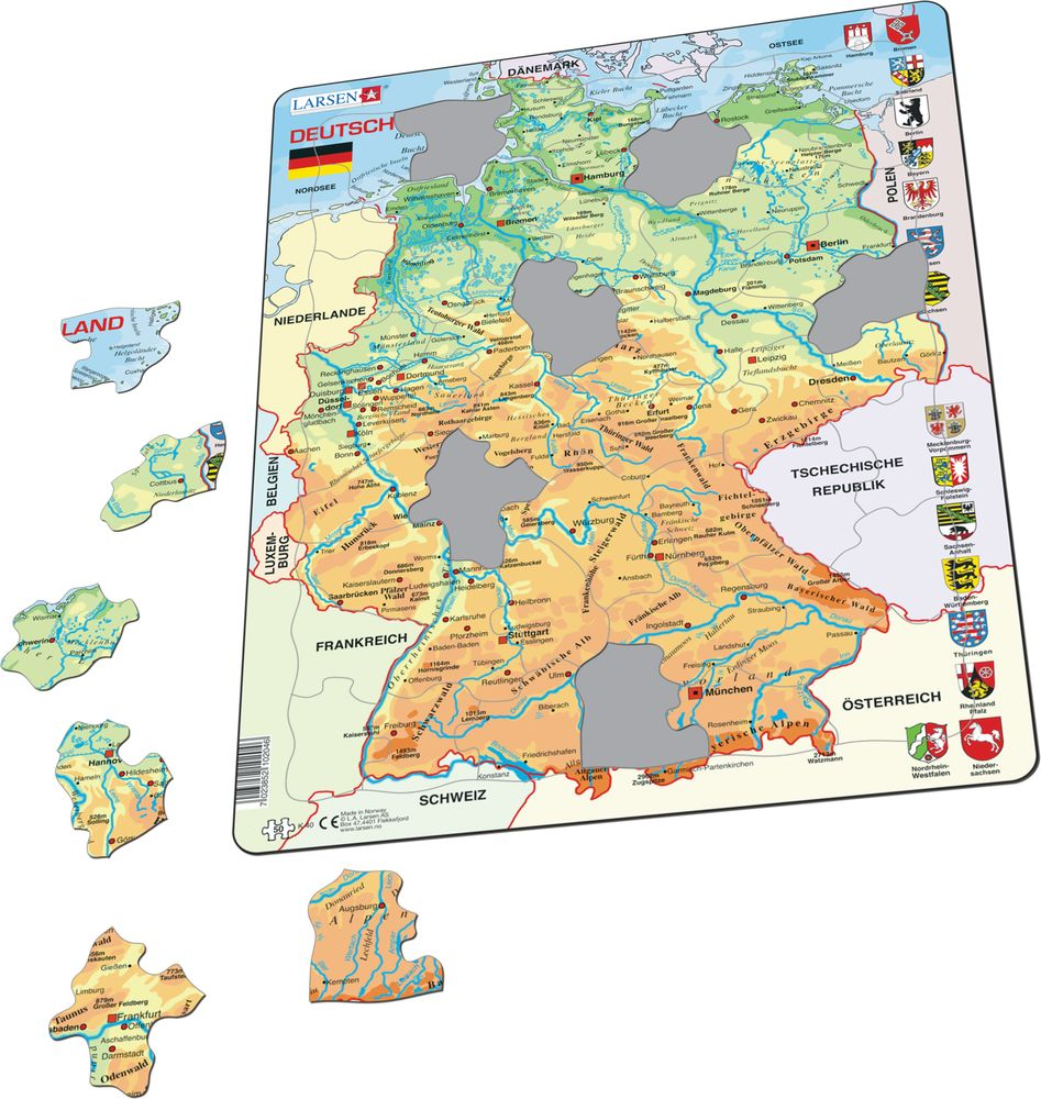 K40 - Germany Physical Map (Illustrative image 1)