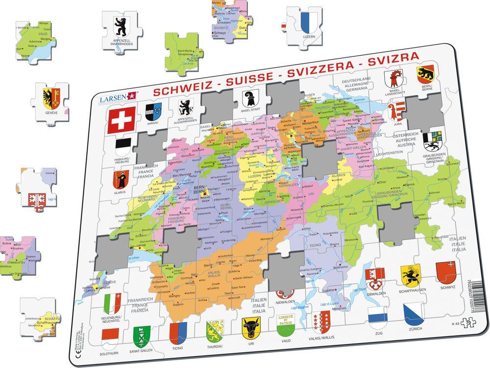K43 - Sveits, politisk kart (Illustrasjonsbilde 1)