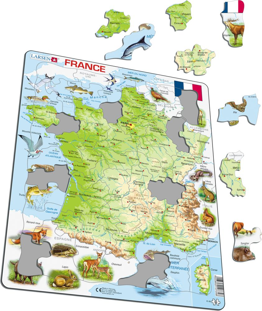K49 - France Physical Map (Illustrative image 1)