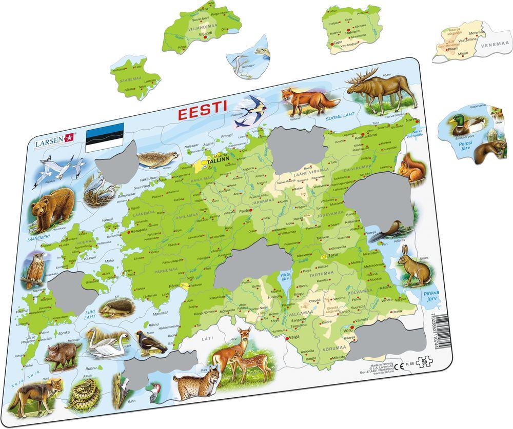 K66 - Estland Fysisk kart med Dyr (Illustrasjonsbilde 1)