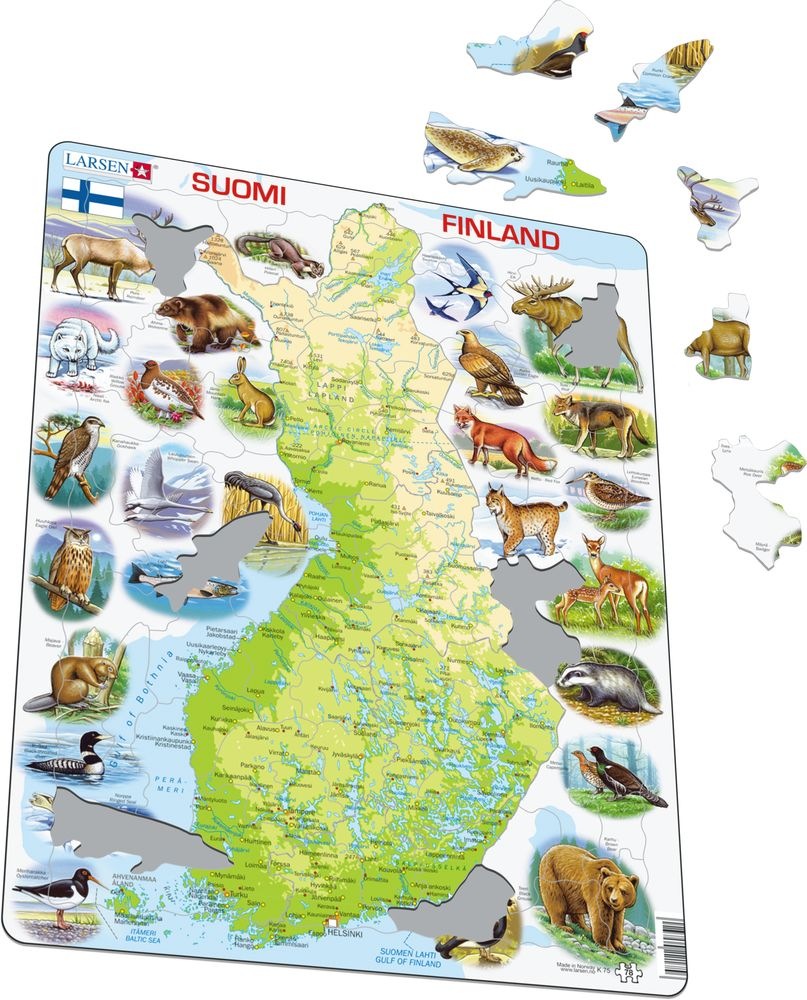 K75 - Finland Physical Map With Animals (Illustrative image 1)
