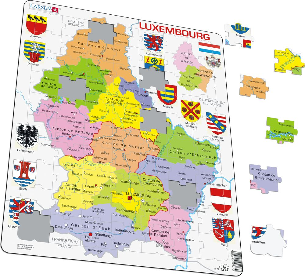 K77 - Luxembourg Political :: Maps of countries :: Puzzles ...