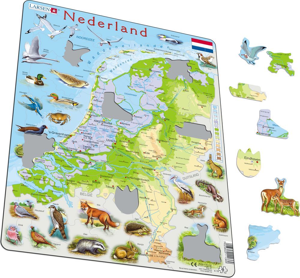 K79 The Netherlands Physical with Animals Maps of countries