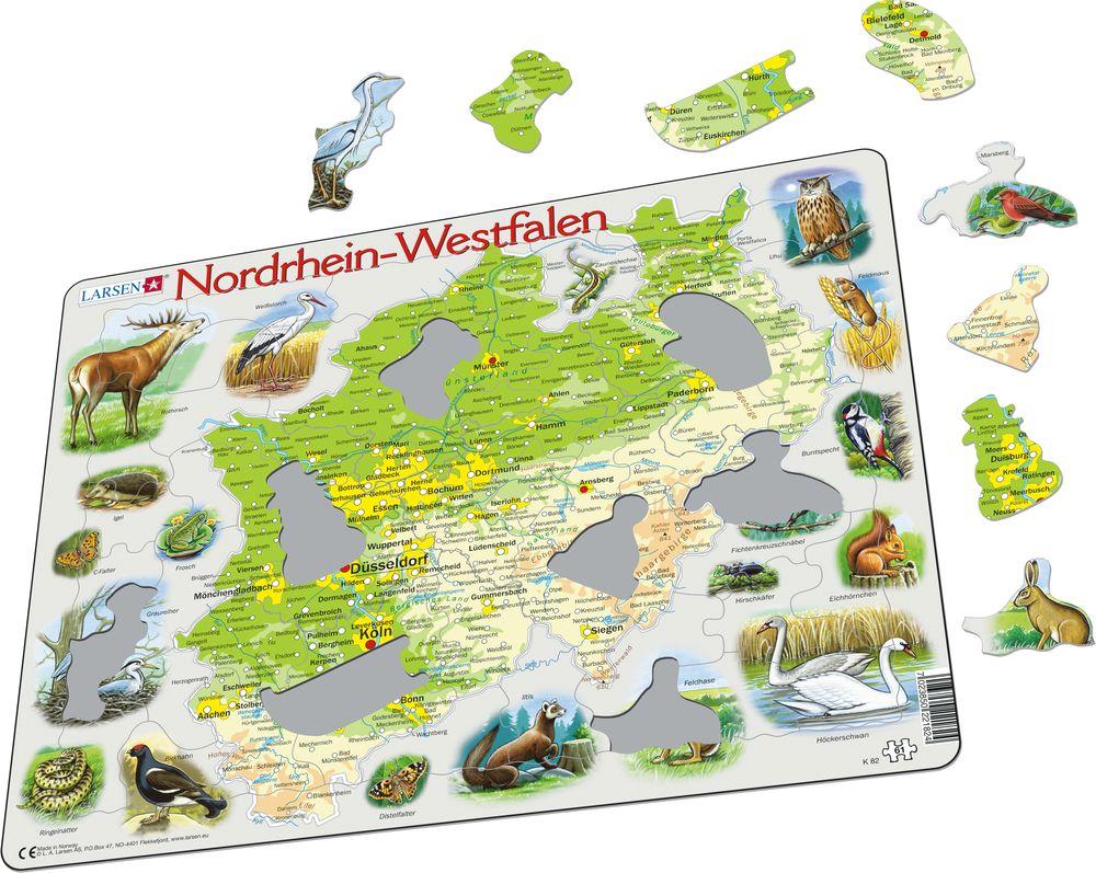 K82 - Nordrhein-Westfalen fysisk kart (Illustrasjonsbilde 1)