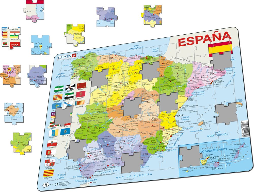 Map Of Spain Tenerife.K85 Spain Political Maps Of Countries Puzzles Larsen Puzzles