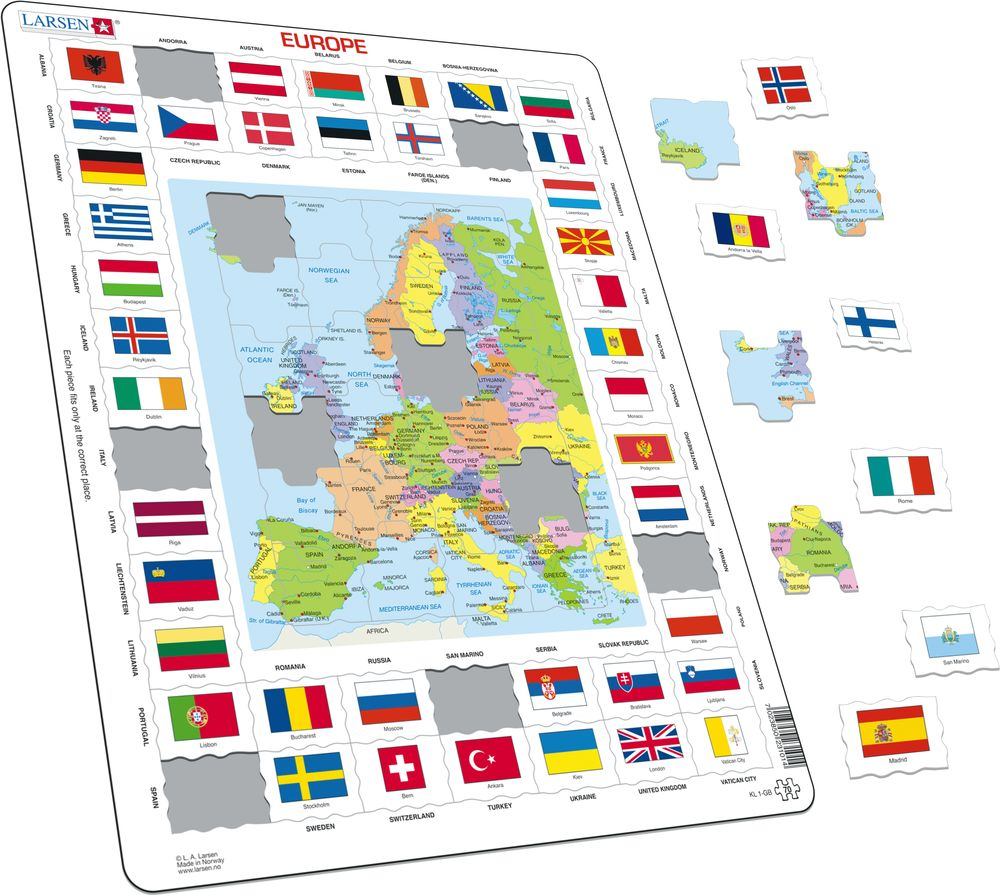 KL1 - Flags and Political Map of Europe (Illustrative image 1)