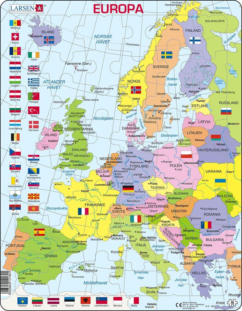 Kart europa med hovedsteder