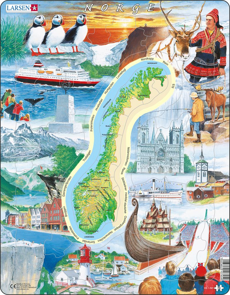 {LA Larsen AS Puzzles – Tourist Attractions Map In Norway