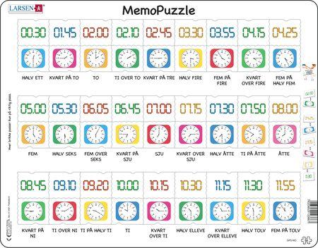 GP5 - MemoPuzzle. Klokka + digital klokke til rett klokkeslett.
