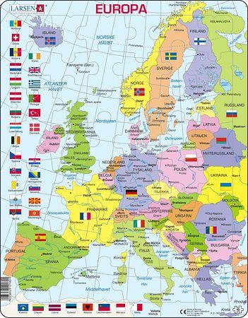 K2 - Europa, politisk kart