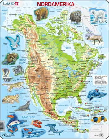 A32 - North America, physical map with animals
