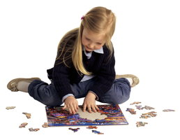 Clara playing with puzzles