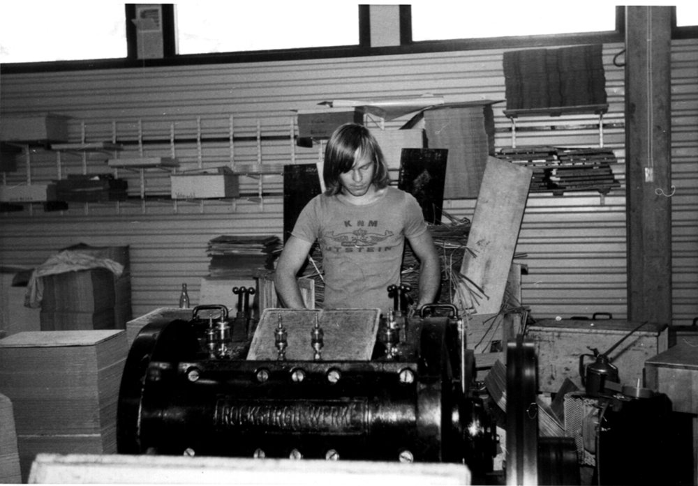 Tore Torgersen cutting out pieces, late 1970s